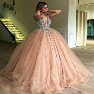 Élégant col en V profond Tulle Robes de Quinceanera 2019 Pierres de perles Top parole longueur robe de bal Princesse Party formelles Robes de bal
