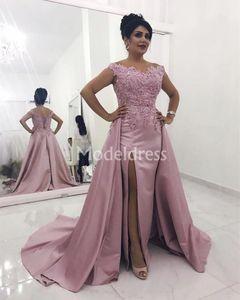 High Side Split Prom Dresses With Detachable Train Off Shoulder Blush Pink Appliques Formal Evening Party Gowns Elegant Vestidos De Fiesta