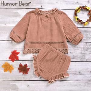 Mizah Ayı Bebek Kız Giyim Seti Uzun Kollu Gevşek Dantel tişört şort Şık Casual Düz Tatlı 0-24M Çocuk Kıyafetleri Suit Tops