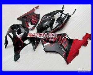 Kit carénage flammes noires pour KAWASAKI Ninja ZX7R ZX-7R 96 99 00 03 ZX 7R 1996 2000 2003 Kit carénage