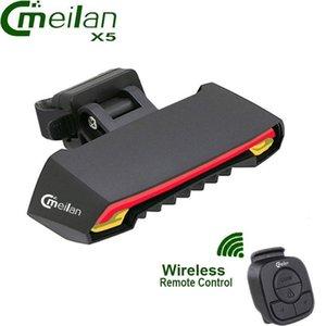 Meilan X5 sem fio da bicicleta Luz traseira cauda lâmpada a laser inteligente USB recarregável Ciclismo Acessórios Remoto sua vez, levou