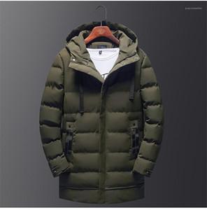 Longo Parkas Designer Thick Inverno Mens Coats zíper e botão Fly Homme Algodão acolchoado Jacket Moda Mens Sólidos