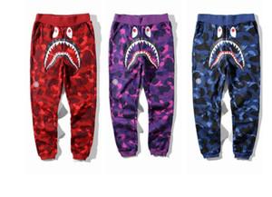 2020 Nueva amante del tiburón de impresión Camo Pantalones largos Pantalones otoño invierno Hombres Mujeres 5 colores pantalones ocasionales de Camo algodón Tamaños M-2XL