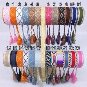 Top bracelet en tissu Marque Femmes D Coton Lettre Bijoux Signature Broderie Bracelet tissé Bracelet Tassel Lacets Bracelet Bagg
