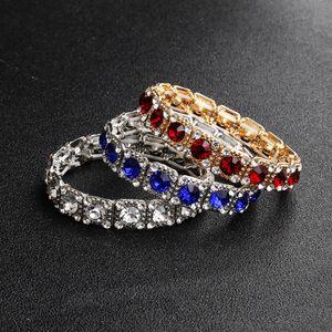 Pulseras nupciales de una fila Encanto elástico Diamantes de imitación deslumbrantes Boda con cuentas para novias Las pulseras Great Gatsby Accesorios de fiesta para niñas