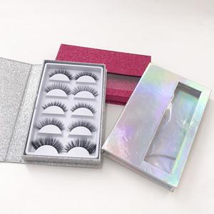 5Pairs الرموش التغليف 3D فو المنك الرموش الطبيعية رموش مع مخصص جلدة الكتاب المجسم اللون كتاب