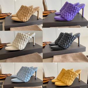 scivoli Designer mandorla punta Muli Curve sandali cinturino in pelle tacchi alti 2020 pantofole sandali nuovi pattini delle donne di lusso stilista tessute