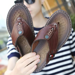 For Summer Beach Men Flip Flops Pu Leather Slippers Male Flats Sandals outdoor Rubber Thong Beach Shoes Men Leather Fashion Sandal