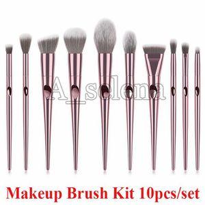 Professional Makeup Brushes 10pcs Set Powder Brush Kits Face and Eye Brush Foundation brushes Beauty Cosmetics by DHL
