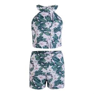 Verão Mulheres Casual chiffon verde Imprimir Vestidos sem mangas Cocktail Two Piece Mini vestido G2