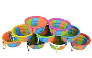 야외 여행 음식 물 공급하기위한 카라비너 휴대용 애완 동물 개 그릇 위장 애완 동물 사발 실리콘 접을 수있는 접이식 강아지 볼