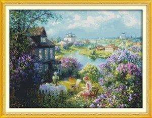 Town of autumn home decor painting ,Handmade Cross Stitch Embroidery Needlework sets counted print on canvas DMC 14CT  11CT