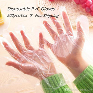 DHL Shipping 500 PCS Set Food Plastic PVC Disposable Gloves for Restaurant Kitchen BBQ Eco-friendly Food Gloves Fruit Vegetable Gloves