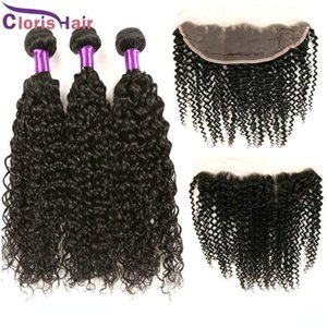13x4 Lace Frontal Closure With Bundles 4pcs lot Cheap Unprocessed Malaysian Kinky Curly Human Hair Weaves With Frontals Cl hairs