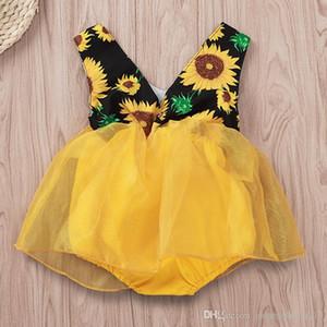 Ins Kız Bebek Romper ile Tül Elbiseler Çiçek Ayçiçeği Baskılı Kolsuz Çocuklar Prenses Tulumlar Yaz Butik Yeni
