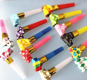 Yaratıcı Trompet Cheer Düdük Plastik Kağıt Çocuk Doğum Günü Partisi Çocuk Hediyeleri Islık Çok Rengiyle Malzemeleri Yana