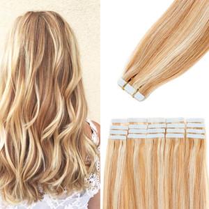 20pcs 14-24 pouces bande dans les cheveux Extensions de cheveux humains invisible peau transparente Trame Ruban Remy humain Pièce Cheveux raides pour les femmes naturelles