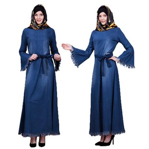 Muslim Abaya Maxi Dress Denim Kaftan Islamic Long Party Robe Jilbab Tassel Gown Arab Middle East Flare Sleeve With Belt Fashion