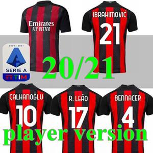 Spielerversion 21 AC Mailand Fussball Jersey 2020 2021 Ibrahimovic Paqueta Bennacer Rebic Maglia da Calcio Romagnoli Calhanoglu Fußball Hemd