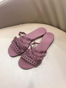 새로운 플라스틱 체인 비치 신발 캔디 컬러 젤리 샌들 플랫 샌들 바닥 체인 디자이너-ES