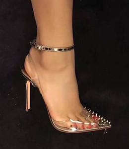 Sommer neuen Stil Frau Spitz transparent Niet High Heels Sandalen Frau Seite aushöhlen Knöchelriemen Partei Sandalen Frau elegante Schuhe