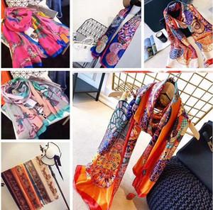 Марка шелка шарф высокого качества женщины оранжевый платок шарфы моды длинный безымянный шаль Wrap пашмины Рождественский подарок A164