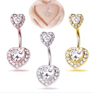 3 Pcs Navel Belly Button Ring Glitter Love Heart Piercing Jewelry Navel Nail 3 Colors