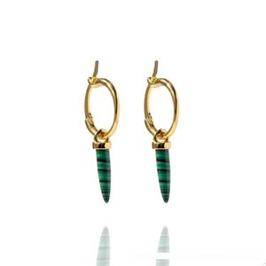 high quality copper gold plated green long Malachito stone earrings for women new arrival luxury fashion malachiti Orecchini jewelry