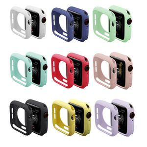 Custodia in silicone colorato morbido per Apple Osservare iWatch Serie 1 2 3 4 coperchio di protezione completa Cases 42mm Accessori 38 millimetri 40 millimetri 44 millimetri Banda