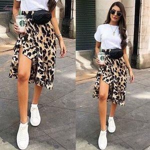Mujer Mini falda con estampado de leopardo altura de la cintura asimétrica Volantes Señora de la manera atractiva Cocktail Club Drop Shipping
