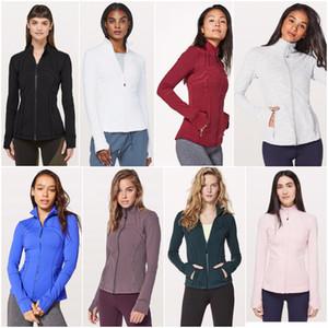 LU-1 mujeres de la yoga chaqueta de las muchachas Ejecución de camisas de las señoras de la yoga Casual Trajes adultos de deporte aptitud del ejercicio de desgaste exterior manga larga con cierre de cremallera