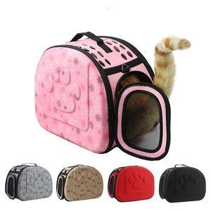 Perro Bolsa soporte portátil Gatos bolso plegable bolsa de viaje del perrito de malla Llevar bolsos de hombro para mascotas Pet Supplies