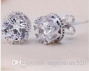 New Crystal Wedding Jewelry Earring Ear New Beautiful Sterling Silver 925 Engagement Diamonds Stud CZ Simulated Rings 2021 Crown Gaogn