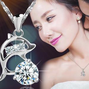2019 nouvelle mode simple chaîne sans égal couronne argent brillant cristal couronne dauphin collier femmes cadeaux de fête