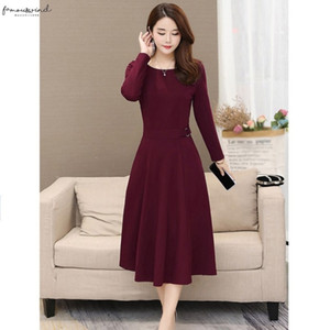 B Temperament Women Dress Autumn Winter Sexy Round Dress Neck Over The Polyester Knee Long Sleeve Sexy Simple Solid Color Slim Dress*