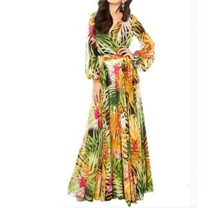 Summer Maxi Dress Women Plus Size Long Dress Deep V Neck Print Party Lace-Up Sexy Ladies Bohemian Dresses Vintage