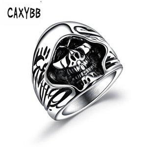 Caxybb Männer Punk Hip-Hop-Ring Titan Stahl Punk Persönlichkeit Schmuck Ring herrschsüchtig Schädel Stahl Mode der Männer Ring-Partei