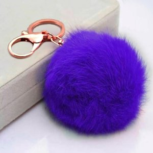 8cm Pompom Car Key Ring Pendant Fur Ball Keychain Rabbit Fur Plush Fur Key Chian POM POM Keychain For Woman Car Bag KeyRing Toy