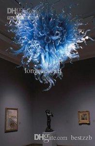 المعاصرة رومانسي الأزرق سقف اضاءات المادة 60 بوصة الحرفية في مهب زجاج الثريا الفن Chandeliers- Girban العلامة التجارية