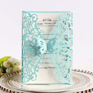 Cartes de mariage bleu clair Laser Coup de cartes à laser avec papillon pour la fête de fiançailles Business DIY 20 Couleur Quinceanera Invitation