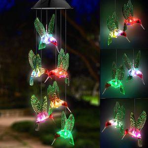 Solares Colibri Wind Chime solares pássaro luzes mudando de cor Waterproof Six Hummingbird Wind Chimes para Home Party Night Garden Decoration