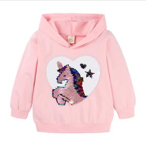 Baby Girls Sweatshirts Unicorn Spring Autumn Children Hoodies Cartoon Sequin Long Sleeves Sweater Tops Kids Clothes