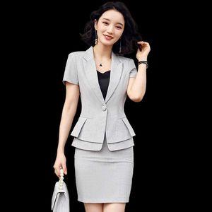 Kısa Kollu İki Adet Set Etek Suit Zarif fırfır Bel İş Kıyafetleri Röportaj Satış Kariyer Suit Yaz Elbise İçin Kadınlar