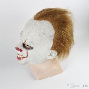 Halloween maschera da clown Tornando Anima Copricapo Facciale Horror puntelli lattice naturale con parrucca bianca Bardian adulti vendite calde 34dz C1