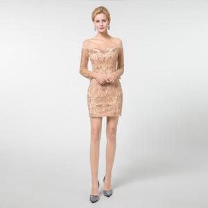 2020 atractiva del oro recto corto de la rodilla Vestidos de baile de la manga completa cucharada de tul con cuentas de cristal partido formal del vestido encima