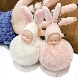 Cute Sleeping Baby Doll Portachiavi Pompon dell'orecchio di coniglio della catena della sfera moschettone portachiavi Portachiavi Donne chiave Bambini chiave pendente del sacchetto Anello favore RRA2893
