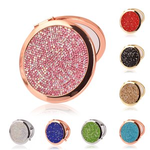 Diamond Makeup Mirror Portable Round Folded Compact Mirrors Diamond Pocket Mirror Making Up for Personalized Gift