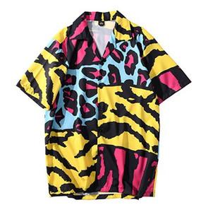 2020 الهيب هوب قميص الشارع الشهير الرجال القميص هاواي جلد الحيوان كتلة اللون المتناثرة شاطئ قمصان قميص الهيب هوب الصيف كم قصير
