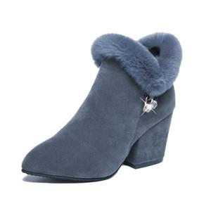 BENZELOR 2018 зимняя женская обувь женщина сапоги квадратные высокие каблуки лодыжки острым носом искусственного меха мода теплые роскошные дамы загрузки черный
