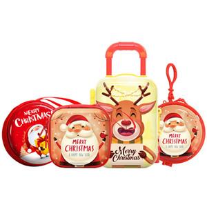 Modello di Natale latta Candy Box auricolare Orecchini moneta cuffie Storage Box di natale scatola sigillata Buon Natale di caramella